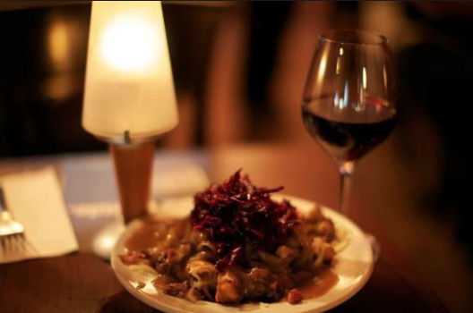 Poutine and wine.
