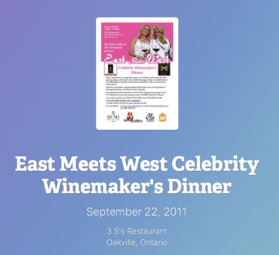 East Meets West Celebrity Winemaker's Dinner