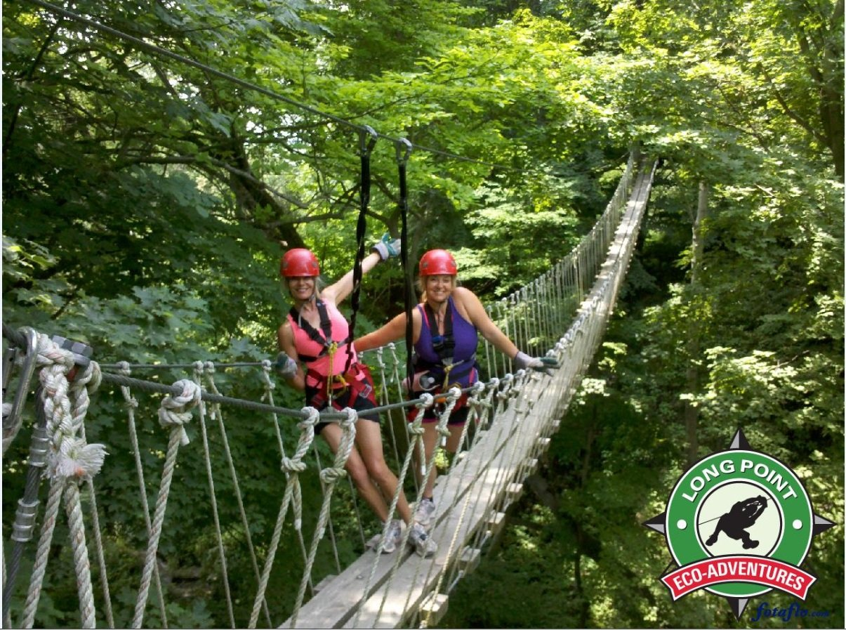 Zip lining and rappelling at Long Point Eco-Adventures followed by a luxurious lunch and beautiful wine tasting at Burning Kiln Winery.