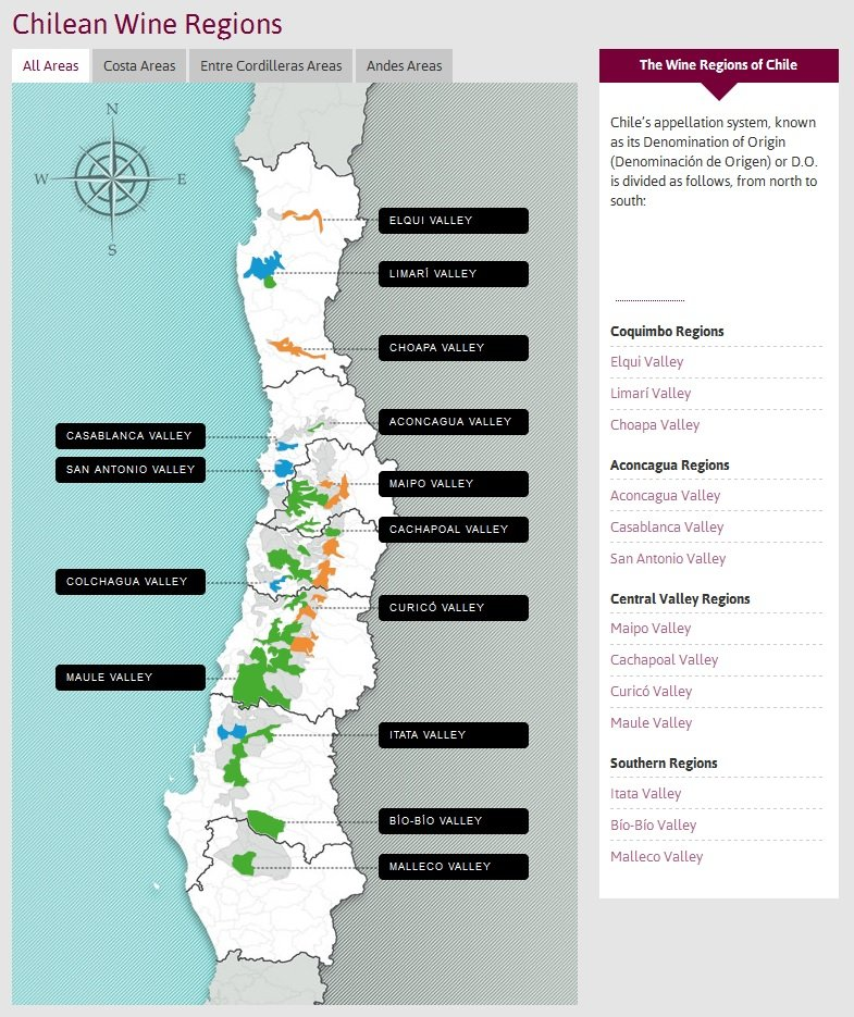Wine Map courtesy Wines of Chile