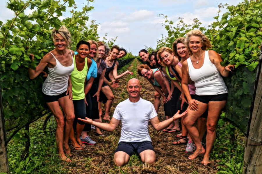 Practicing yoga in the vineyard at Southbrook Vineyards with Igita Yoga instructor Tim Rivers. Stay tuned for our next yoga event this summer.