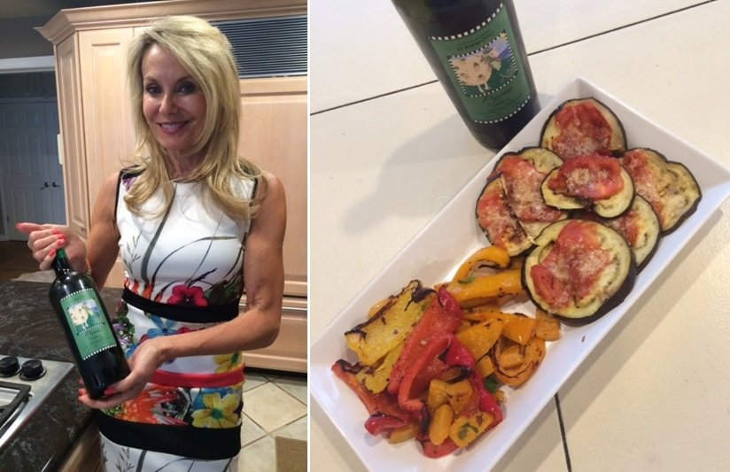 Georgia enjoys a meal at home of grilled eggplant, Ontario field tomatoes and Parmesan shavings. Perfect with the Di Bernardino Pecorino 2013.