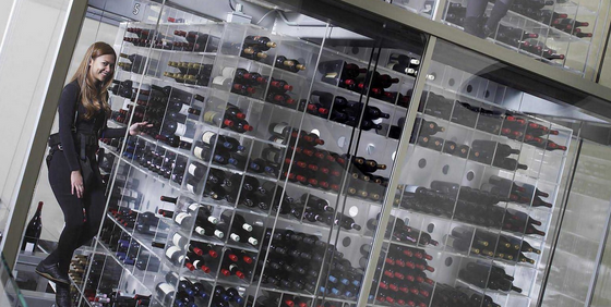 Aureole wine cellar. For over 60,000 bottles, and the uber cool, first of its kind 4 story glass wine tower, inspired by the Tom Cruise film Mission Impossible!
