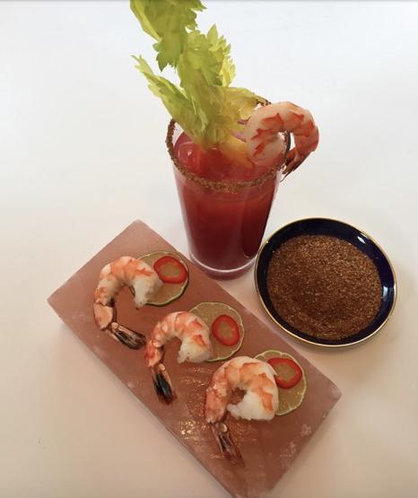 The Ultimate Canadian Drink...The Bloody Caesar invented in Calgary, Alberta made with Iceberg Vodka made in Newfoundland.Over 350 million Caesars are consumed annually. The perfect pairing Himalayan Salt Block Grilled Chipotle Lime Shrimp and a classic Caesar rimmed with a Chipotle, Lime & Himalayan salt blend.BBQ seasoned Iceberg Vodka Bloody Caesar
