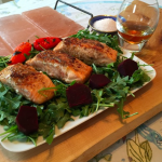 Salt Stone Grilled Collingwood Whisky and Maple Glazed Salmon served with a glass of Collingwood Whisky.