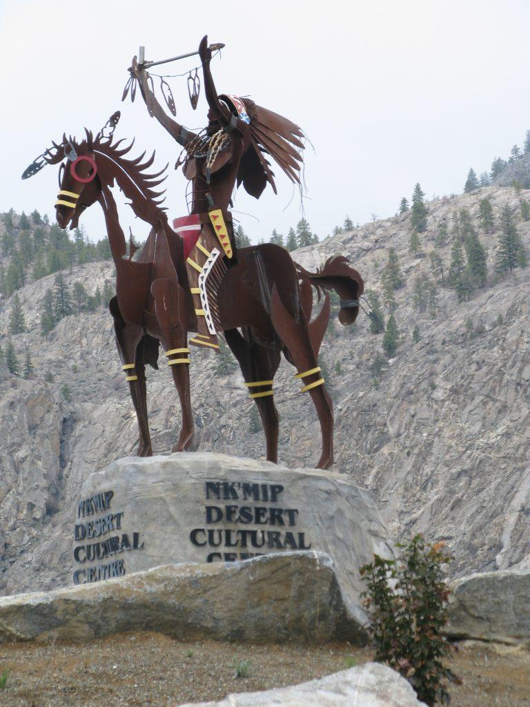 Statue greets visitors at Nk'Mip Cellars, Osoyoos, B.C.