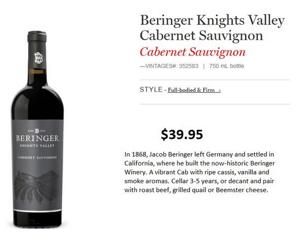 Georgia's Wine Pick…Beringer Knights Valley Cabernet Sauvignon 2011