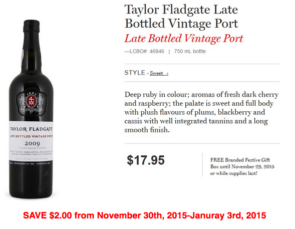 Taylor Floodgate Late Bottled Vintage Port.