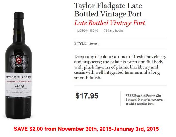 Taylor Floodgate Late Bottled Vintage Port.