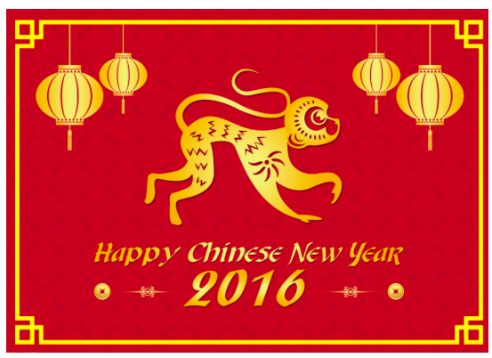 Happy Chinese New Year. Year of the Monkey.
