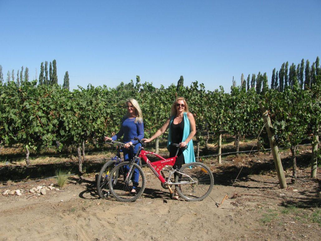 Bike ride in the vineyard, Bodegas Salentein, Argentina, The Wine Ladies TV.