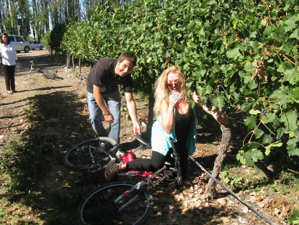 Oops Susanne, need some practise! Bike ride in the vineyard, Bodegas Salentein, Argentina, The Wine Ladies TV.