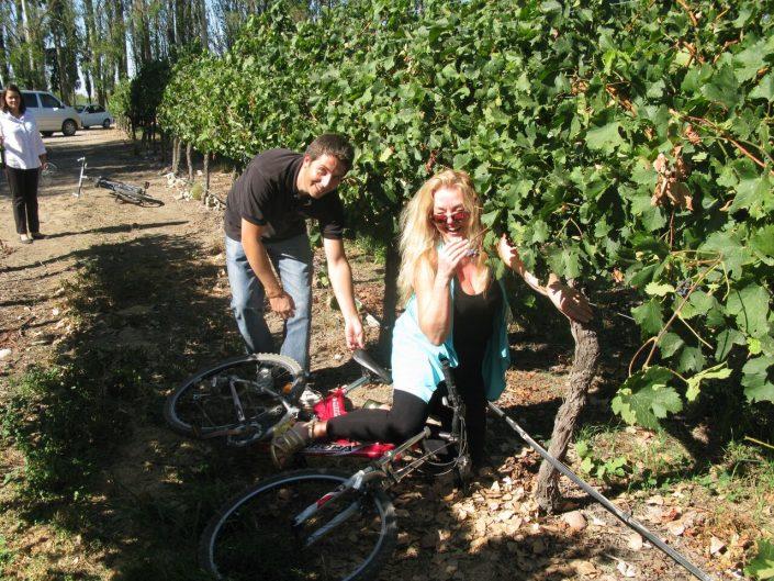 Oops Susanne, need some practise! Bike ride in the vineyard, Bodegas Salentein, Argentina, The Wine Ladies TV.