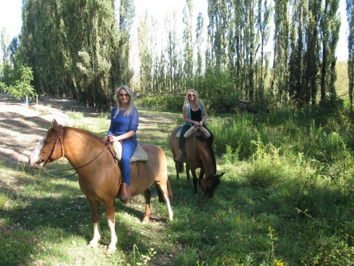 Horseback riding in the vineyard, Bodegas Salentein, Argentina, The Wine Ladies TV.