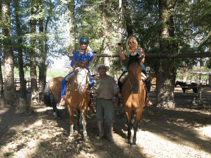 Horseback riding among the vineyards, Bodegas Salentein, Argentina. The Wine Ladies TV