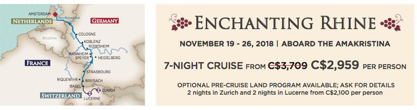Rhine River Cruise Nov 2018 Pricing