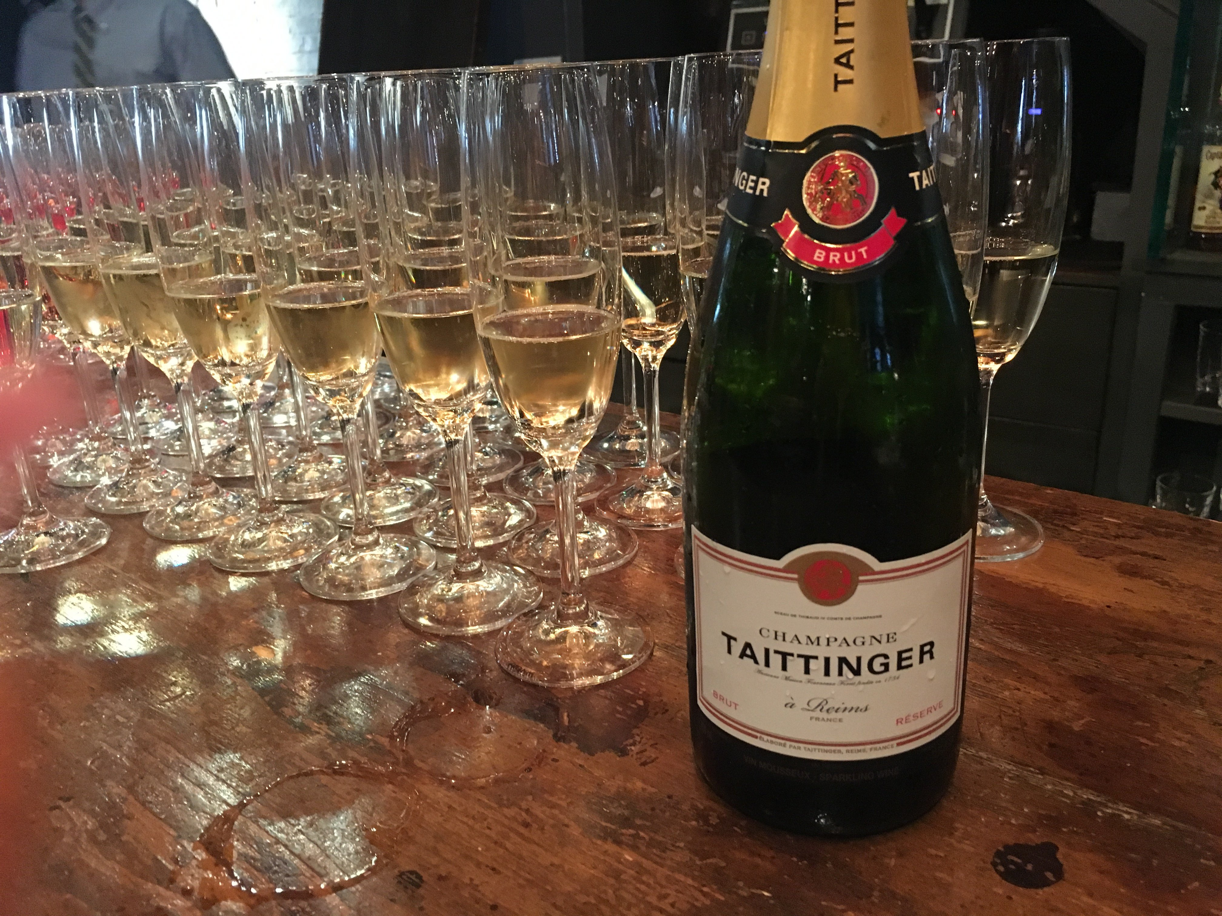 Reception after the structured tasting featured the Taittinger Brut Reserve Champagne
