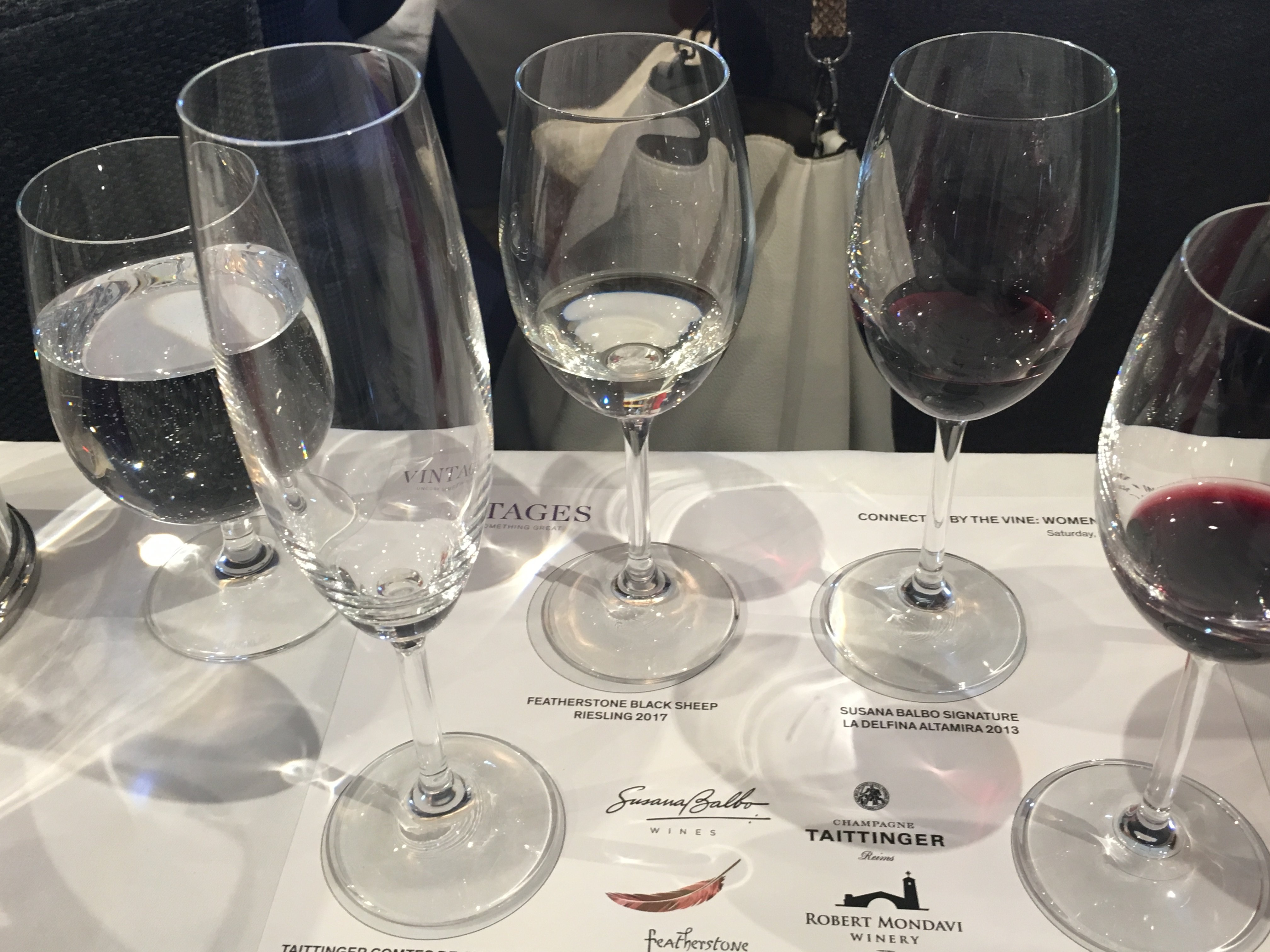 Structured Tasting included: Taittinger Comtes de Champagne 2006, Featherstone Blck Sheep Riesling 2017, Susana Balbo Signature La Delfina Altamira 2013 and Robert Mondavi Winery Reserve Cabernet Sauvignon 2014