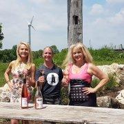 Shana White winemaker Adamo Estate Winery leads us through a rose tasting. Stunning backdrop