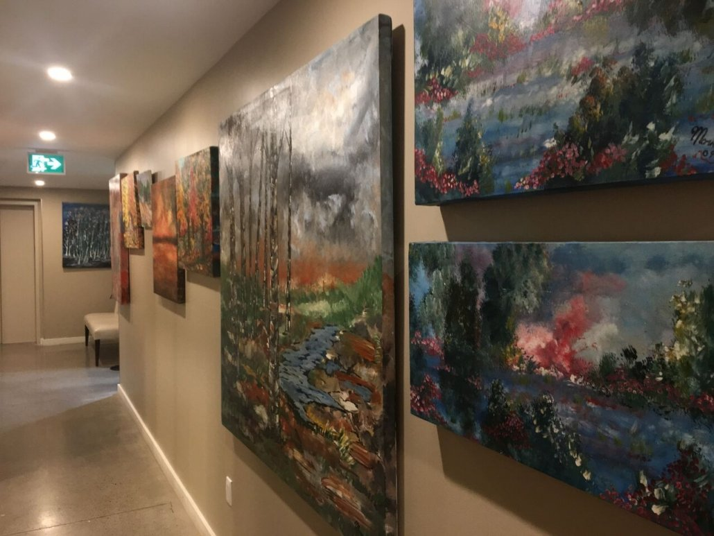 Mario Adamo's stunning original paintings populate the walls of the stunning Adamo Estate Winery.