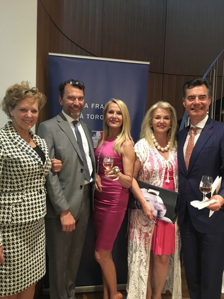 From left to right; Liz Palmer, award-winning author and wine journalist, Marc Trouyet,The Consul General of France in Toronto, Georgia and Susanne, The Wine Ladies and guest, Boris Zayachkowski.