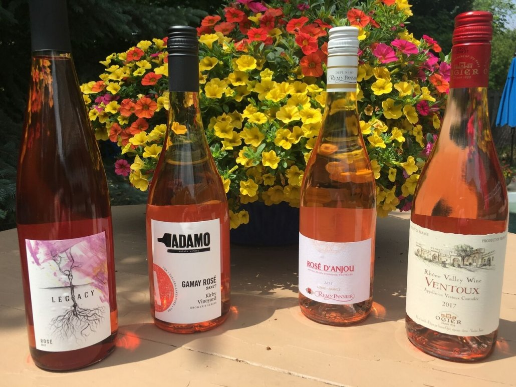 Celebrating International Rose Day with beautiful examples from Canada, Adamo Estate Winery and France, Remy Pannier and Maison Ogier.