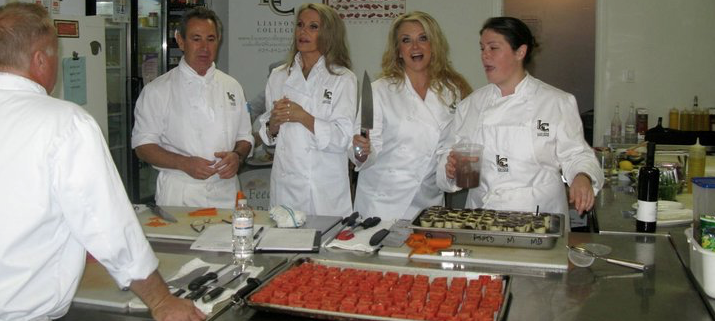 Look out The Wine Ladies in the kitchen! Susanne re tells the story that as a young girl she got chased out of the kitchen by a chef wielding a knife of that size! — with David Gosse, Michael Bartello, Georgia, Susanne Seelig-Mense and Chantel Parkes.