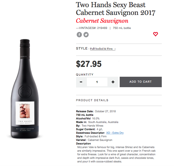 Two Hands Sexy Beast Cab Sauv 2017 LCBO