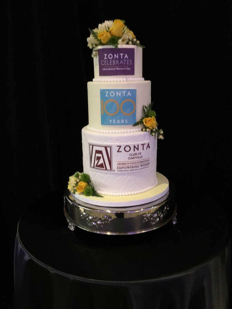 Celebration cake honoring 100 year of Zonta International. Cake made by The Sweetest Thing, Kerr Street, Oakville.