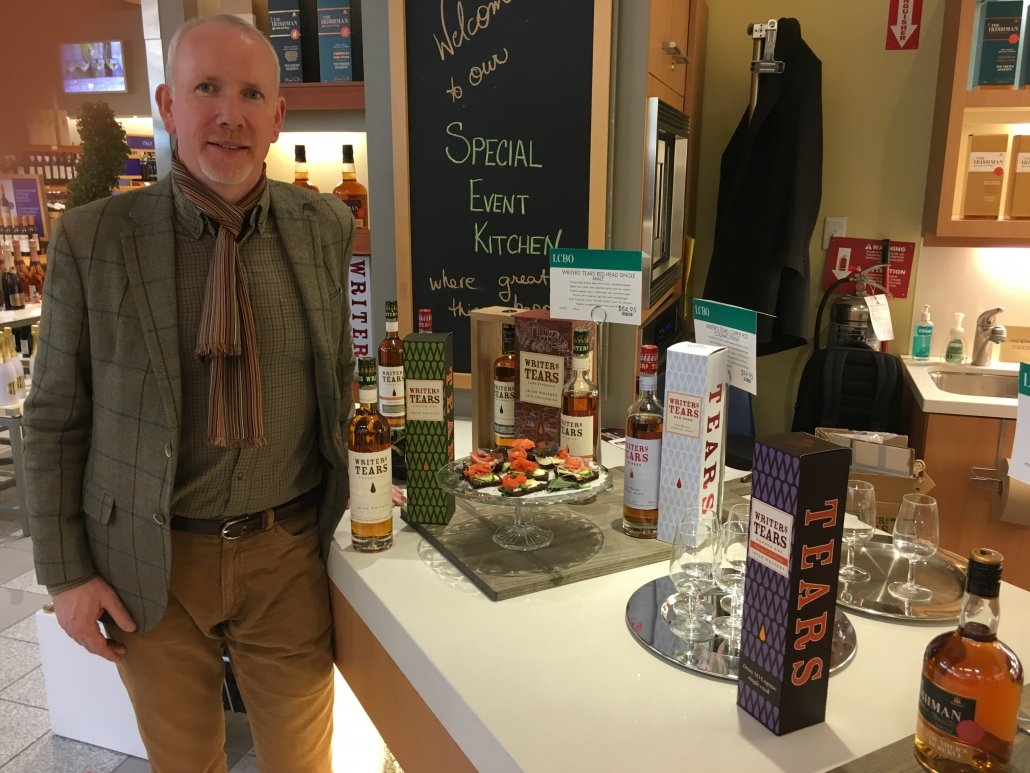 Bernard Walsh at a recent visit to Oakville Ontario showcases his whiskies at the 1st ever Irish Whiskey Distillery Feature. Feb 2019