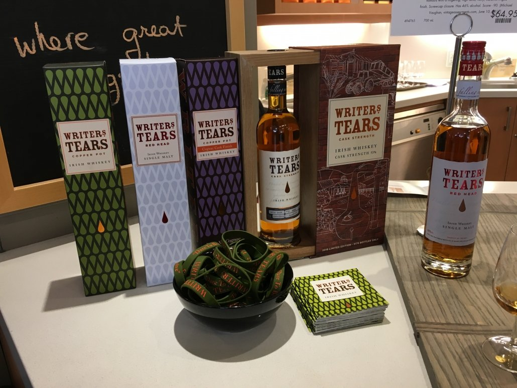 The complete range of Writers' Tears currently available at the LCBO.  Writers' Tears Copper Pot Irish Whiskey $46.95  Writers' Tears Red Head Single Malt Irish Whiskey $64.95  Writers' Tears Copper Pot Cognac Finish $99.95 (while quantities last)  Writers' Tears Limited Cask Strength Irish Whiskey $178.60 (while quantities last)