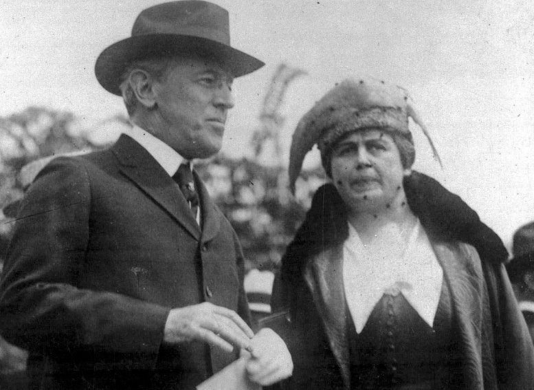 President Woodrow Wilson and first lady Edith Bolling Wilson are seen in Washington on May 15, 1918. Wilson proclaims Mother's Day, May 9, 1914